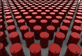 Rows of oil drums