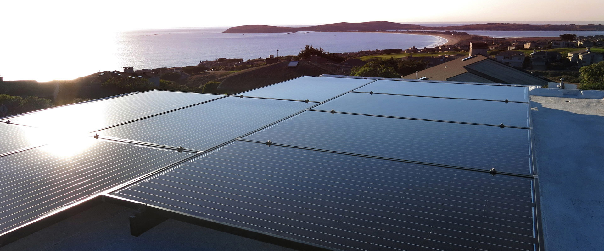 Roof-mounted solar panels in Bodega Bay, CA